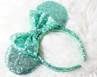 Mint Sequin Mouse Ears Headband. All Over Sequin Mouse Ears Headband. Mouse Ears Headband. Disney Headband. One Size Fits Most.
