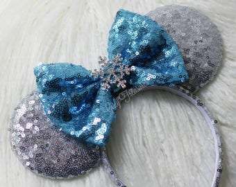 Snowflake Mouse Ears Headband. All Over Sequin Mouse Ears. Holiday Mouse Ears. Disney Headband. Christmas Mouse Ears.  One Size Fits Most.