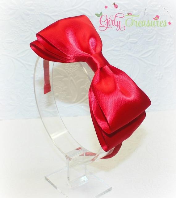 Red Satin Bow On Plastic Headband Snow White Headband