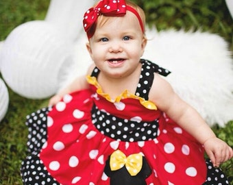 Red Minnie Mouse Bow Headband. Polka Dots Headband. Baby Headband. Infant Headband. Girl Headband. Photo Prop.