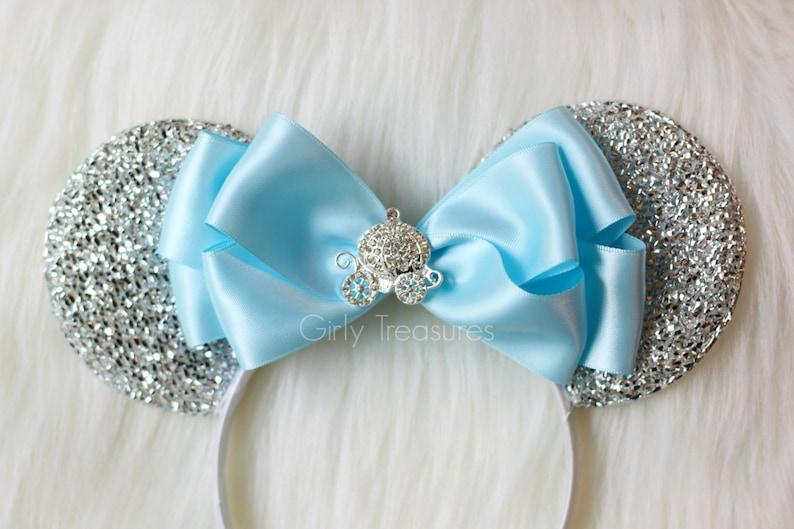 Cinderella Carriage Mouse Ears Headband. Blue Bow Mouse Ears. image 0