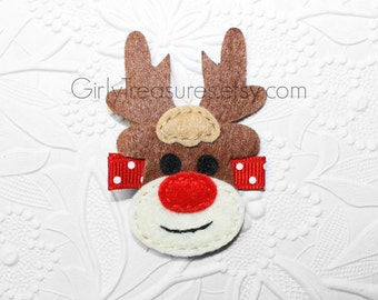 Rudolph The Red Nosed Reindeer HAIRCLIP. Baby Clippie. Newborn Headband. Girl Headband. Photo Prop.