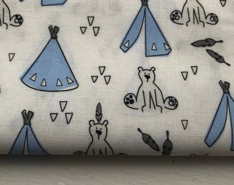 Bear + Tipi - Blue - Woven Cotton - Made in Denmark