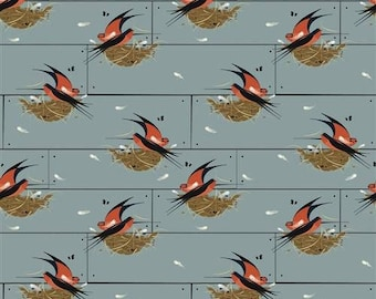 Barn Swallow - Nurture (Charley Harper) Organic Cotton Woven Poplin by Birch (5208.52.00.90)