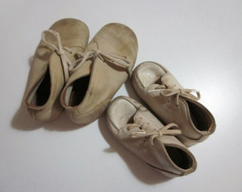 Leather Baby Shoes, 1950's  Baby Shoes, Pussyfoots Baby Shoes, Vintage Baby Boots