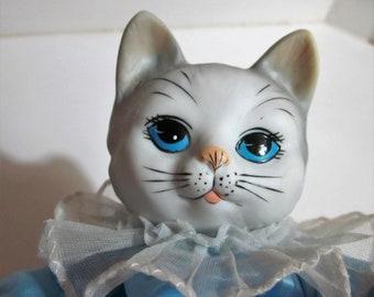 Cat Music Box, Animated Music Box, It's A Small World, Blue and Pink, Nursery Decor