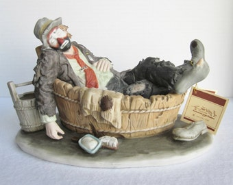 Vintage Flambro Emmett Kelly Jr. Saturday Night Large Figurine, Clown Sculpture, Clown Decor, Sad Hobo