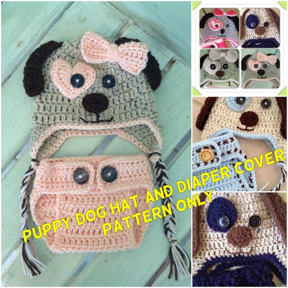 Puppy Dog Hat And Diaper Cover Pattern Only Crochet Hat And Etsy