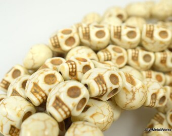 White Skull Beads, Dia De Los Muertos, Skull Beads, 15 x 15 x 12 mm, 15 Inch Strand, Whole Strand