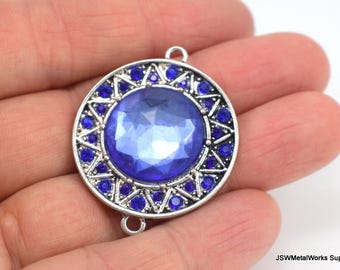 Large Blue Antiqued Silver Pendant, Large Blue Connector, Faceted Blue Acrylic Component, 36 x 30 mm