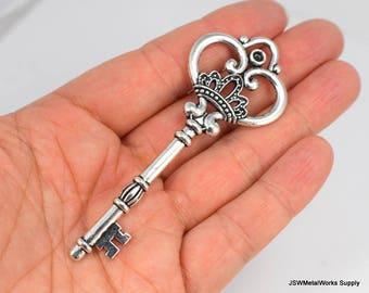 Huge Skeleton Key Charm Antique Silver Pewter Pendant 85mm