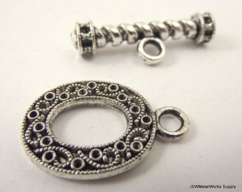1 Ornate Oval Pewter Toggle Clasp, Designer Filigree Toggle Clasp, Fancy Clasp, Silver Necklace Closure, Pewter Bracelet Closure