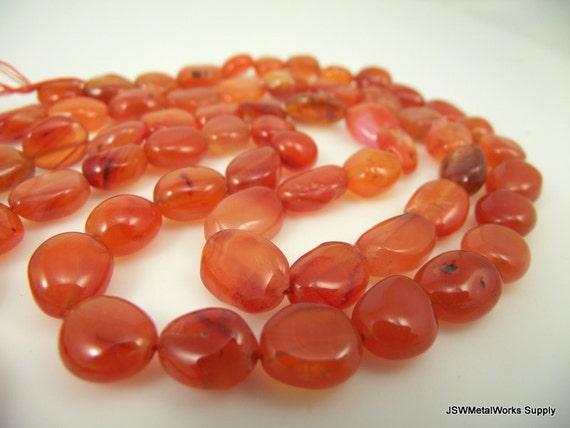 10 TEN BEADS 10mm x 12mm Natural Carnelian Puff Rectangle Beads