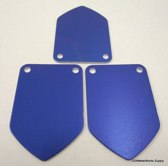 cheap for discount 17a10 755db 5 Large Blue Anodized Aluminum Shield Tags Large Blank Discs   Etsy