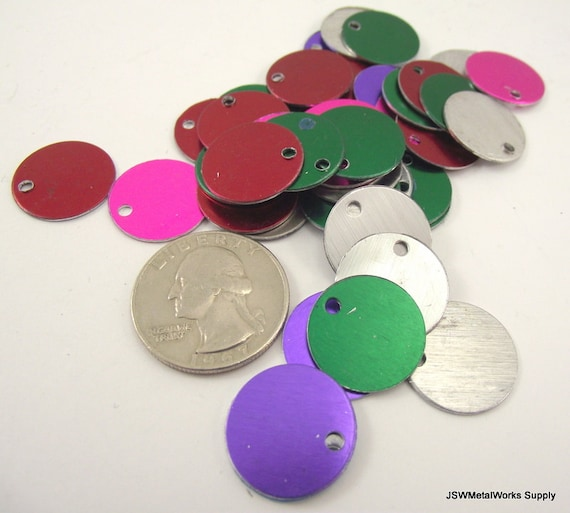 Pack of 10 Black Colorful Round Anodized Aluminum Stamping Blanks Discs for Pets Tags 20mm