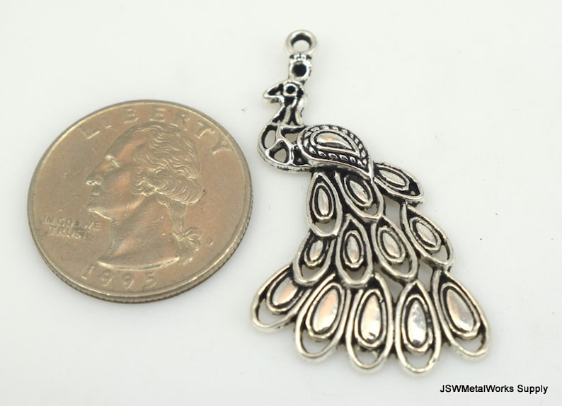 Large Silver Bird Pendant Antiqued Silver Peacock Pendant 42mm Detailed Peacock Pewter Charm Peafowl Nature Pendant