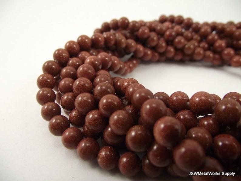 Beading Supplies 16 Inch Whole Strand Goldstone Beads 6mm Brown Goldstone Round Beads Round 6 mm Beads Beaded DIY