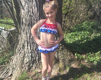 Patriotic Princess Red, White & Blue Infant and Children's Bathing Suit