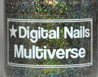 Multiverse, a color-shifting topper with ultrachrome flakies & unicorn pee by Digital Nails