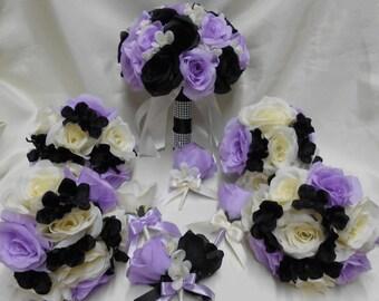 Wedding Silk Flower Bridal Bouquets Your Colors 18 pcs