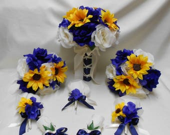 Wedding silk flower bridal bouquet package navy blue yellow etsy wedding silk flower bridal bouquets 18 pcs package yellow sunflower navy blue ivory bridesmaids boutonnieres corsages free shipping mightylinksfo