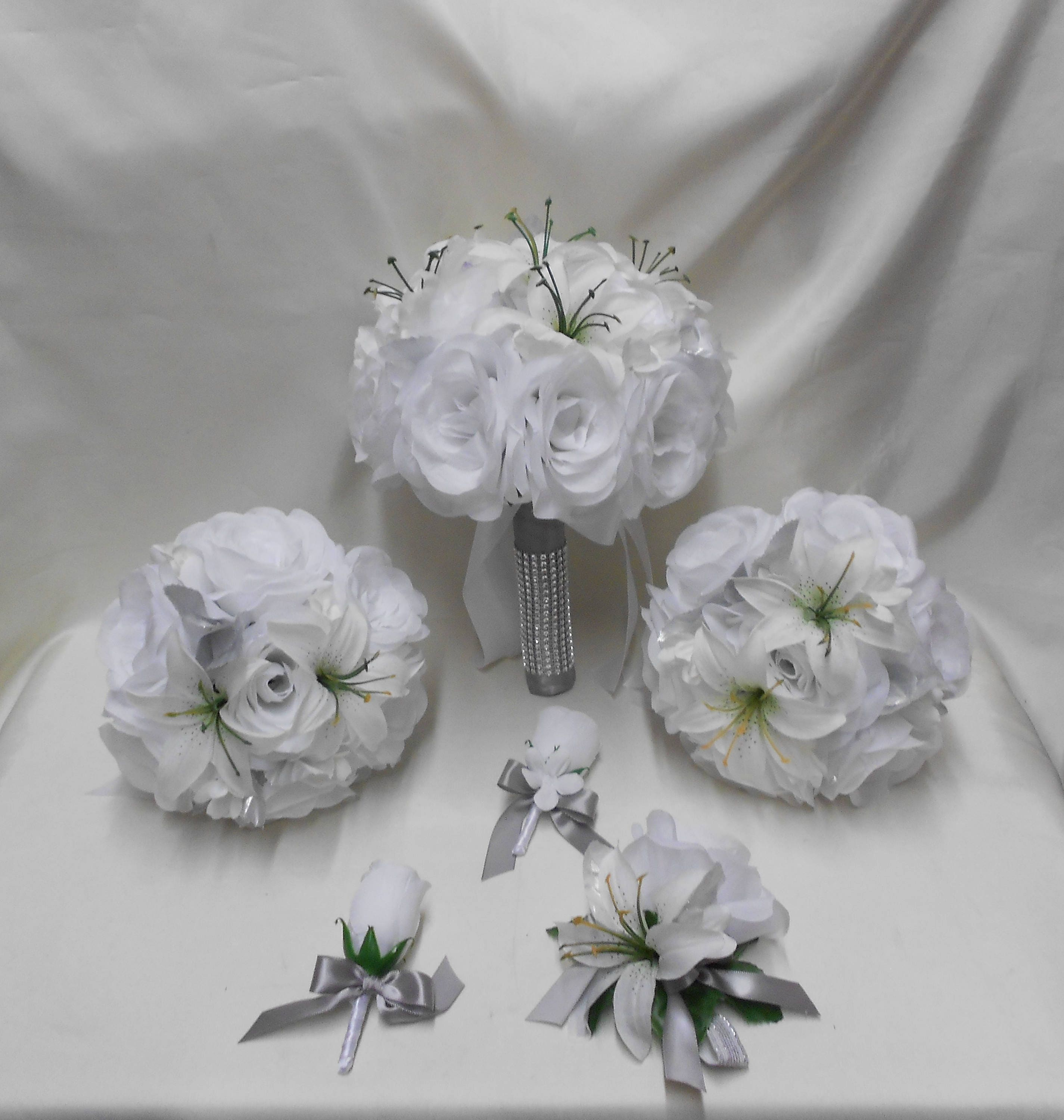 Wedding Silk Flower Bridal Bouquets 18 Pcs Package White Roses Etsy