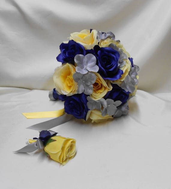 Wedding Silk Flower Bridal Bouquet Package Navy Blue Coral Peach Silver Bride Bridesmaids Toss Bouquets Boutonnieres Corsages FREE SHIPPING