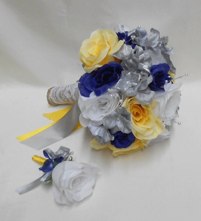 Wedding Navy Blue Yellow Grey Silver Bridal Bouquet Silk Etsy