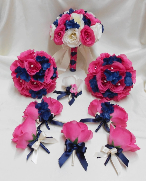 Wedding Silk Flower Bouquet 18 Pieces Package Ivory Hot Pink Etsy