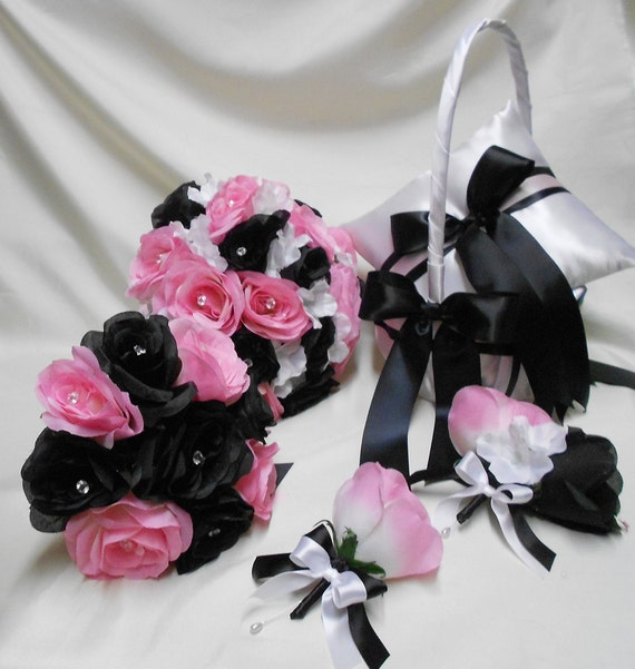 Wedding Bridal Bouquets Package Light Pink Black Bridesmaids | Etsy