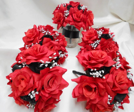 Silk Flower Wedding Bouquets Decorations Arrangement Red Black Etsy