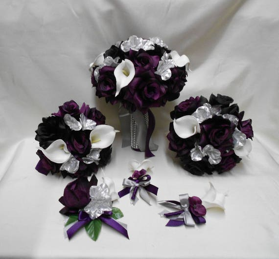 Wedding Silk Flower Bridal Bouquets Package Calla Lily Purple Etsy