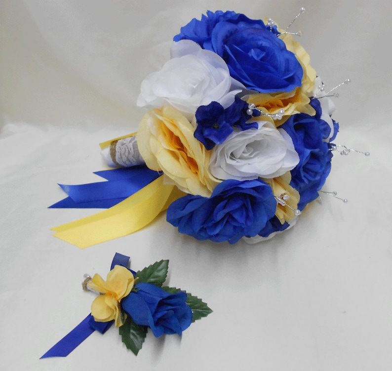 b1434df7914d4 Wedding Royal Blue Yellow White Bridal Bouquet Silk Flowers Burlap Lace  Pearl Bride's Bouquet Groom's Boutonniere Your Colors FREE SHIPPING