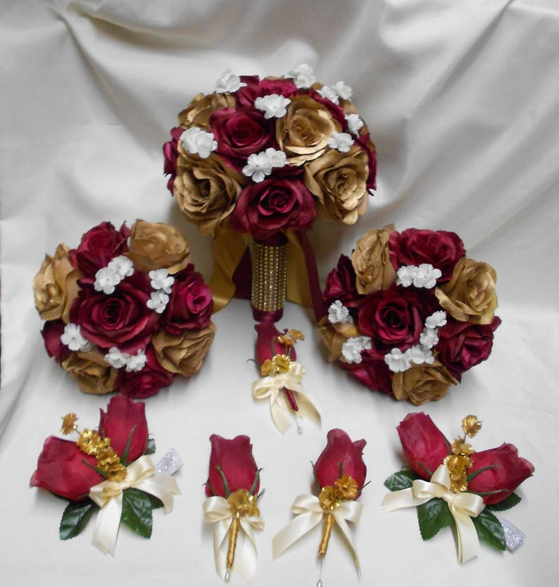 Wedding Silk Flower Bridal Bouquets 18 Pieces Package Burgundy Etsy