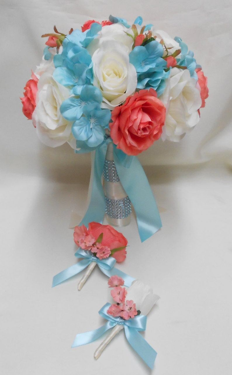 Wedding Silk Flower Bridal Bouquets 18 Pcs Package Champagne Etsy