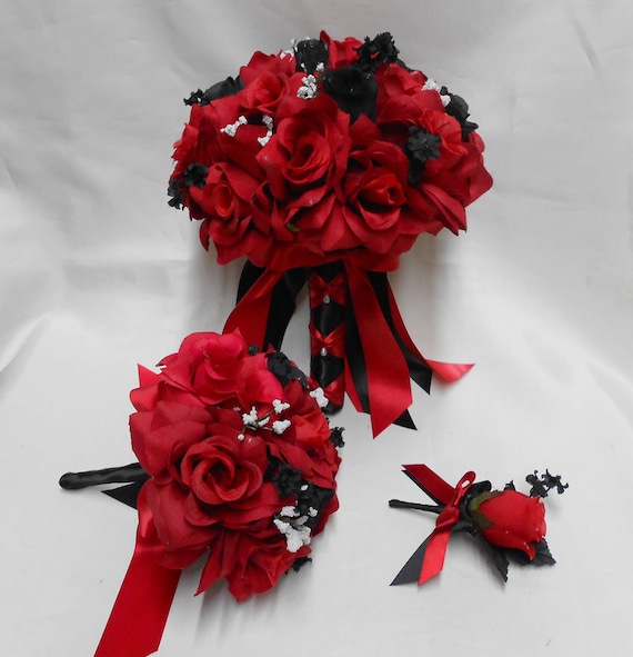 Black Red Rose Bride S Bouquet Groom S Boutonniers Etsy