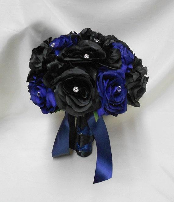 Wedding Silk Flower Bouquet Your Colors 2 Pieces Black Navy Etsy