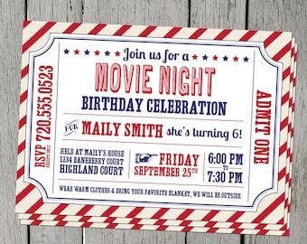 Movie Night Digital Birthday Party Invitation