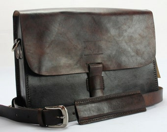 "Rustic Distressed Leather Messenger Bag  Briefcase Laptop Satchel fits Macbook Pro 13"" 486A"