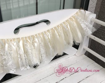Ivory Ribbon and Lace Banner / Lace Wedding Backdrop / Birthday Banner / Nursery Decor / Ribbon and Lace Garland / Ribbon Backdrop