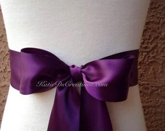 48873c7d2c Plum Satin Ribbon Sash   Eggplant Wedding Sash   Bridal Bow   Bridesmaid  Ribbon