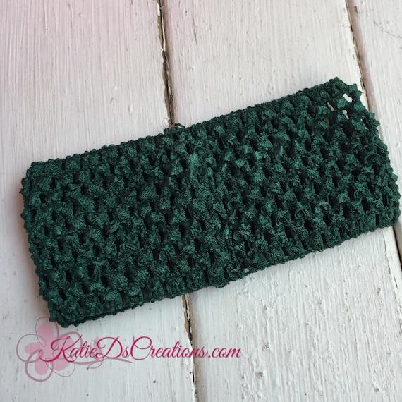 Hunter Green Crocheted Elastic Headband 275 Inch Headband Etsy