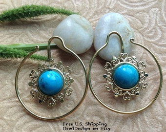 Ear Weights, Earrings For Stretched Lobes, 12 Gauge (2mm) Gauges, Brass, Turquoise, DewiDesign, Tribal