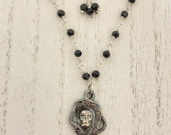 Victorian Inspired Halloween or Mourning Beaded Necklace with Skull Charm