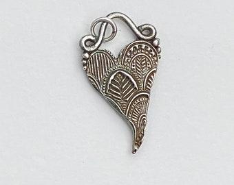 Fine Silver Whimsical Heart Pendant