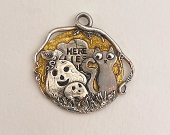 The Cat and the Pumpkin Fine Silver Pendant