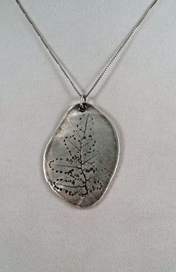 Leaf nature impressions silver art pendant recycled silver artisan handmade jewelry