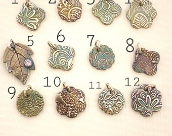 Small Textured Fine Silver Charms