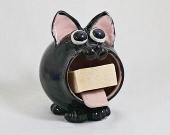 Black Cat Soap Holder, Handmade Ceramic Sponge Holder,  Hand Thrown Stoneware Pottery, Kitchen Bath Decor, Cat Decor, Pottery Soap Holder