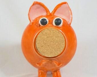 Handmade Ceramic Piggy Bank, Hand Thrown Stoneware Pottery, Wheel Thrown piggy bank, stoneware piggy bank, Orange